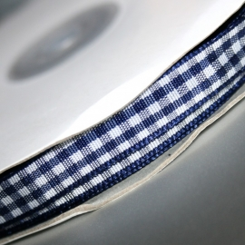 10mm navy gingham ruit lint