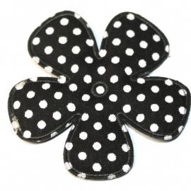 47mm polkadot bloem stof zwart
