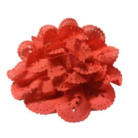 Bloem met gaatjes koraal 7cm