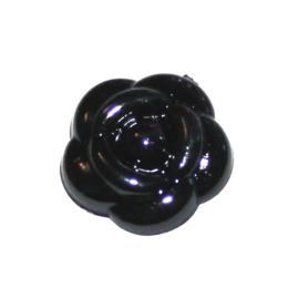 parelbloem flatback 12mm zwart
