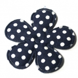 35mm polkadot bloem donker blauw