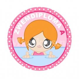 Button zwemdiploma A Meisje