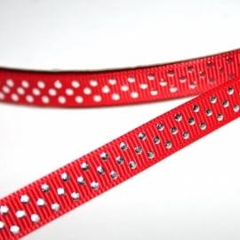 5m grosgrain rood met zilveren stippen