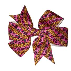 strik van lint bruin roze leopard