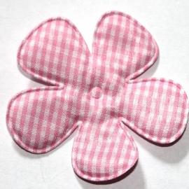 Roze gingham ruit bloem 65mm