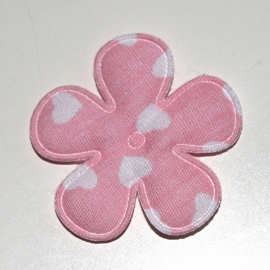 35mm bloem met hartjes print roze