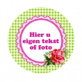 (FB225) foto tekstframe lime roosje