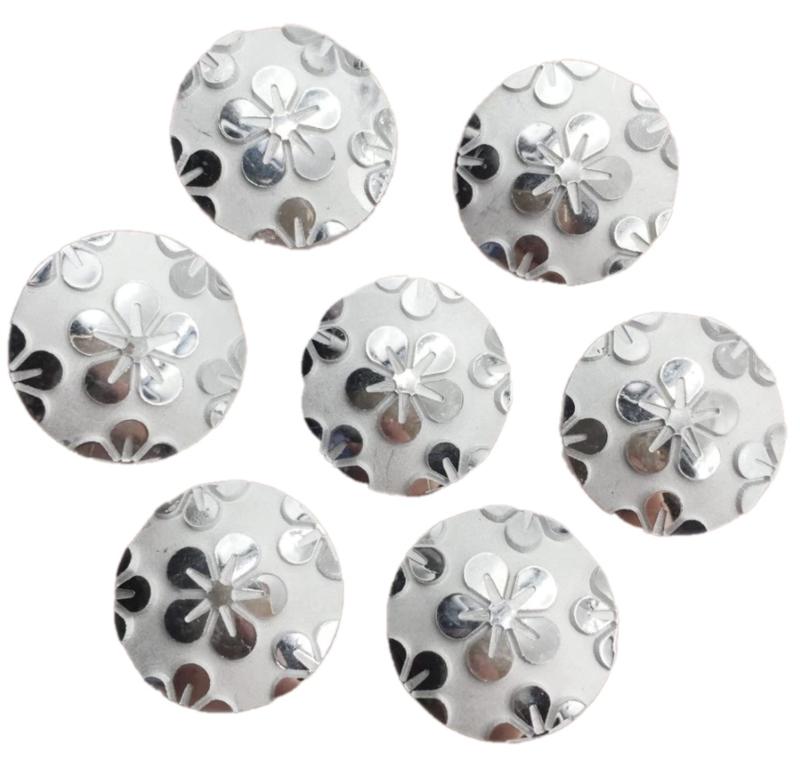 ronde zilver kleurig bloem flatback