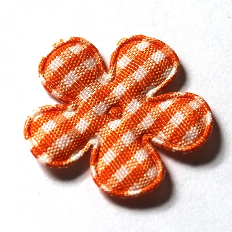 25mm ruit bloem oranje 10 stuks