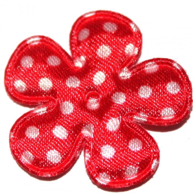 25mm bloem van satijn polkadot rood 10 stuks