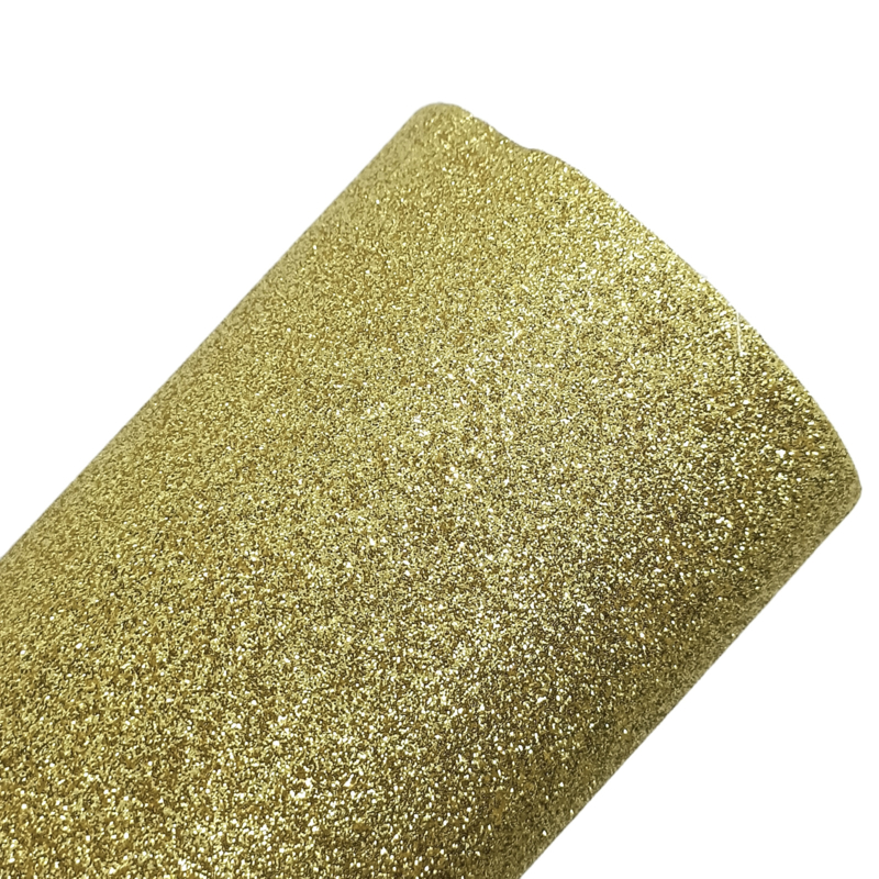 Lapje glitter goud pu leer (a4)