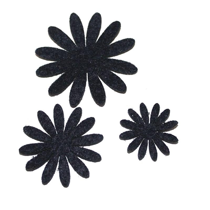 Vilten bloementje navy (kies maat)