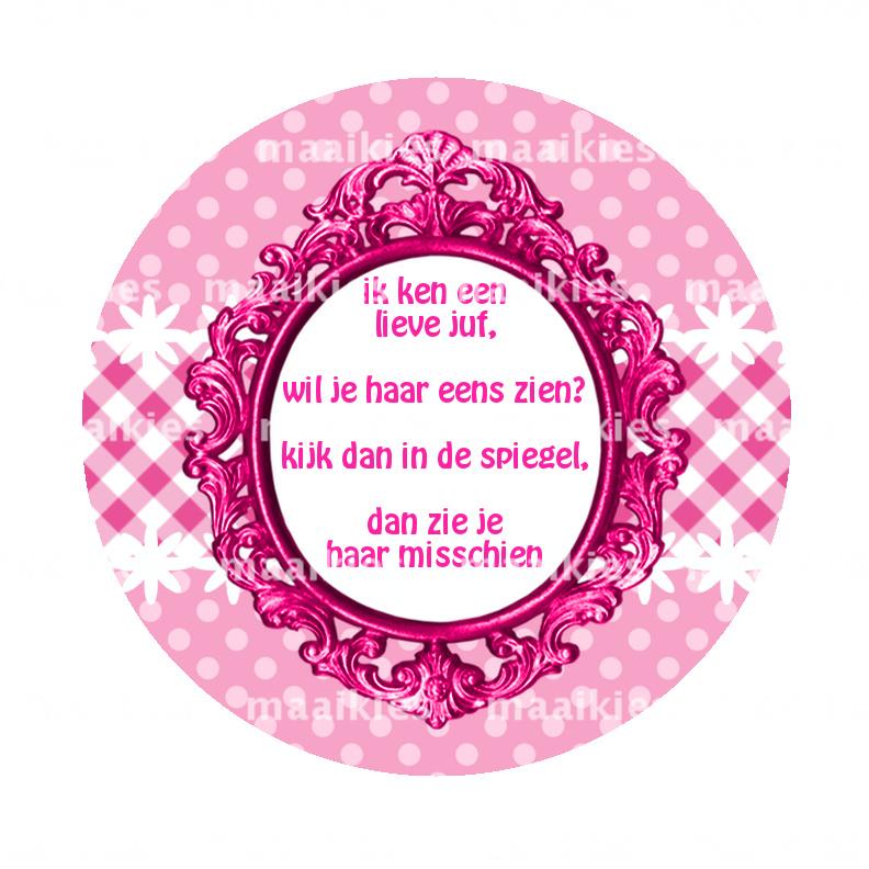 Bso45 Gedicht Juf Barok Roze Bsos 56mm Button Opener