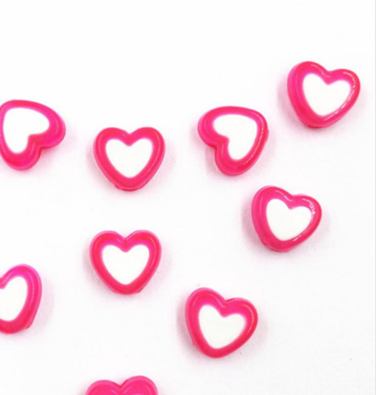 Hartjes kraal fuchsia roze wit (8mm)