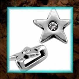 DQ metaal schuiver Ster strass - Zilver