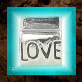 """Zilveren Pandora-style fotokraal """"Love"""" - 2 dezelfde foto`s"""