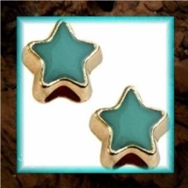 DQ metaal schuiver Ster goud - Emerald blue zircon