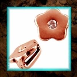 DQ metaal schuiver Bloem strass - Rose gold