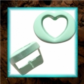 Chill schuiver Hartje open 10 mm - Pastel turquoise groen