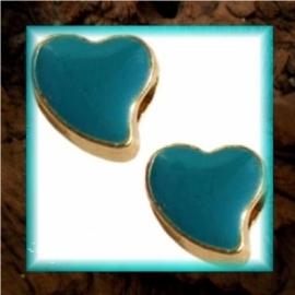 DQ metaal schuiver Hart goud - Emerald blue zircon