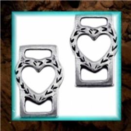 DQ metaal schuiver Hart open - Zilver