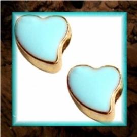 DQ metaal schuiver Hart goud - Licht blauw