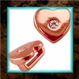 DQ metaal schuiver Hart strass - Rose gold