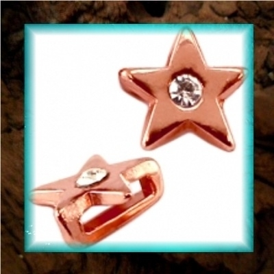 DQ metaal schuiver Ster strass - Rose gold