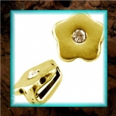 DQ metaal schuiver Bloem strass - Goud