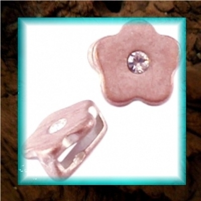 DQ metaal schuiver Bloem strass - Champagne rose