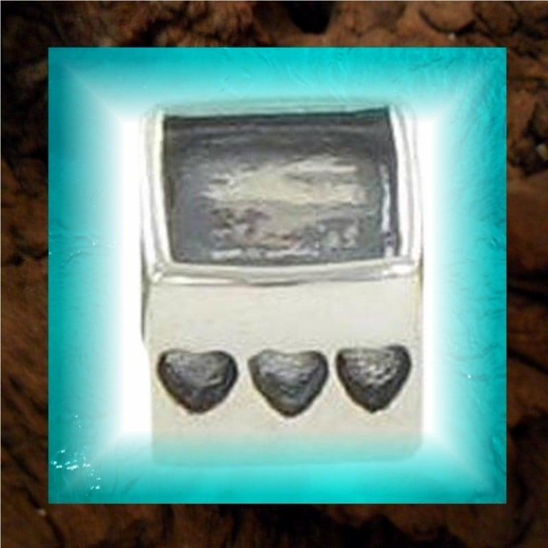 """Zilveren Pandora-style fotokraal """"Hartjes"""" - 2 dezelfde foto`s"""
