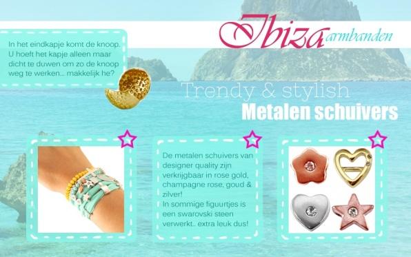 Ibiza armbanden metaalschuivers (Cuoio)