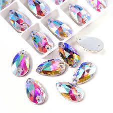 Druppel groot  crystal AB glas geslepen