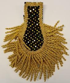 Epaulletten velours zwart met gouden glitters
