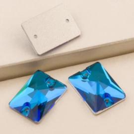 Sew on glas rechthoek Blue Zirkon