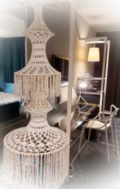 Gehaakte Ibiza Lamp 2 kleurig, ecru en beige, diverse opties