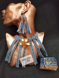 ketting, armband of oorbellen maken van jeans