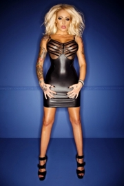 (F078) Wetlook dress with tull and PVC trims*
