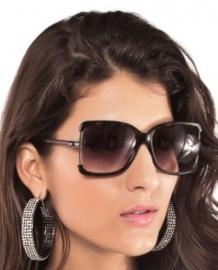Precious Black Earrings With White Sparkling Rhinestones