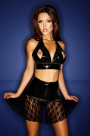 (F087) PVC skirt with lace and chain applications*