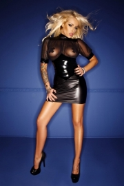 (F084) Wetlook & PVC dress with tull decoltee*
