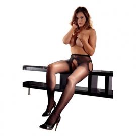 Zwarte kruisloze panty met kanten randen