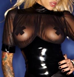 (F084) Wetlook & PVC dress with tull decoltee*