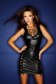 (F079) Wetlook dress with lacing*