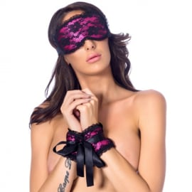 SATIN LOOK HANDCUFFS WITH MASK