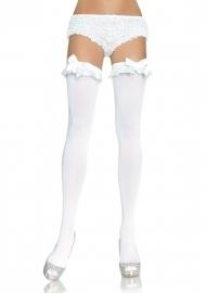 Opaque Witte Kousen Met Ruches En Strik*