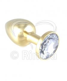 Rimba - GOUD Buttplug KLEIN met kristal (unisex)