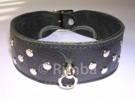 Rimba - Halsband 4 cm. breed, versierd met nieten