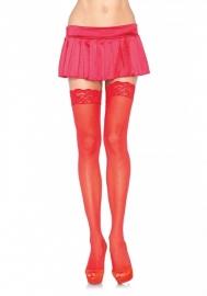 Klassieke kousen met kanten rand Rood*