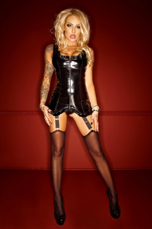 (F077) PVC dress with windings on the back and suspender`s*